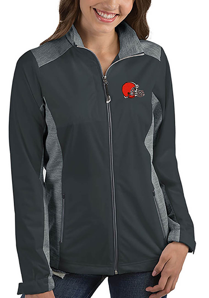 Antigua Cleveland Browns Womens Grey Revolve Light Weight Jacket - Image 1