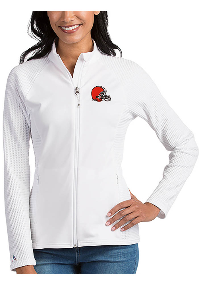 Antigua Cleveland Browns Womens White Sonar Light Weight Jacket - Image 1