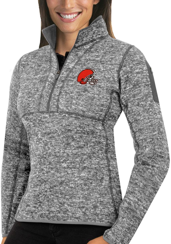 Antigua Cleveland Browns Womens Grey Fortune 1/4 Zip Pullover - Image 1