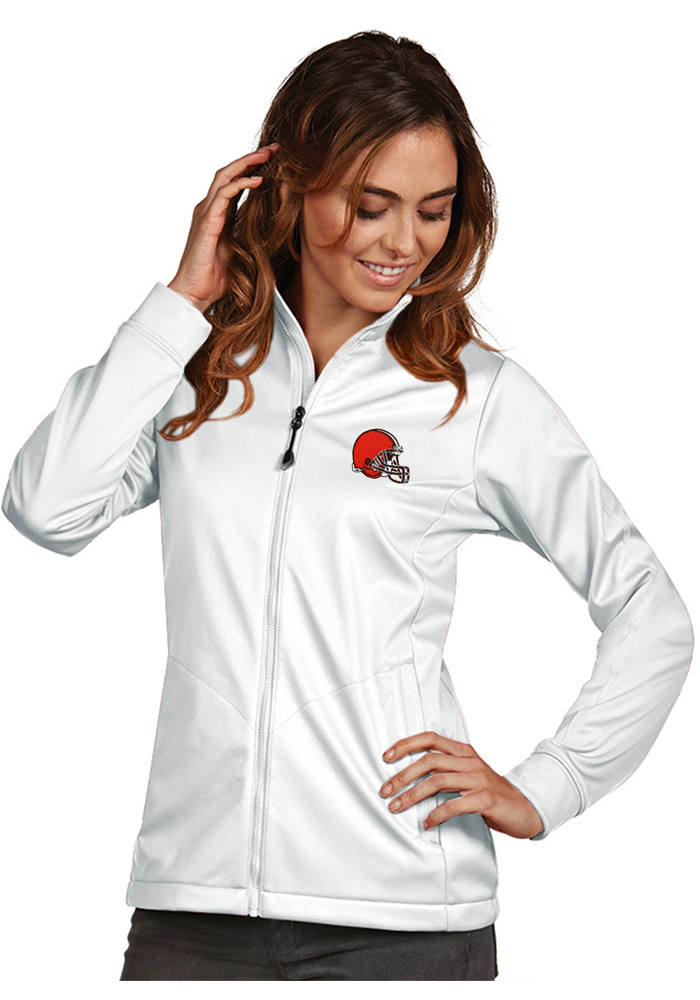Antigua Cleveland Browns Womens White Golf Medium Weight Jacket - Image 1