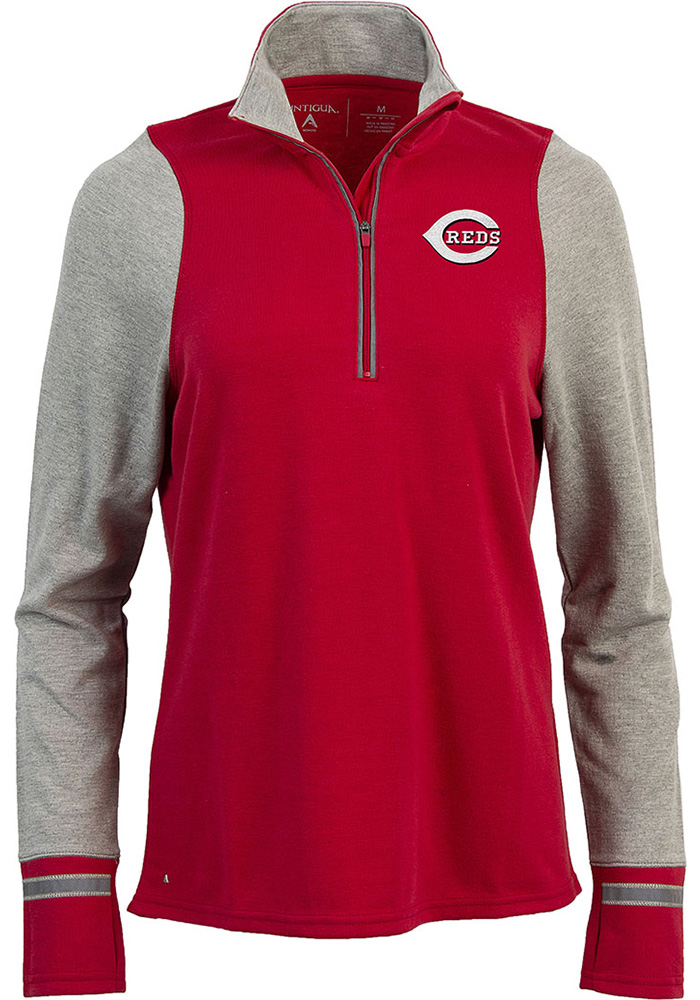 Antigua Cincinnati Reds Womens Red Pitch Pullover 1/4 Zip Pullover - Image 1