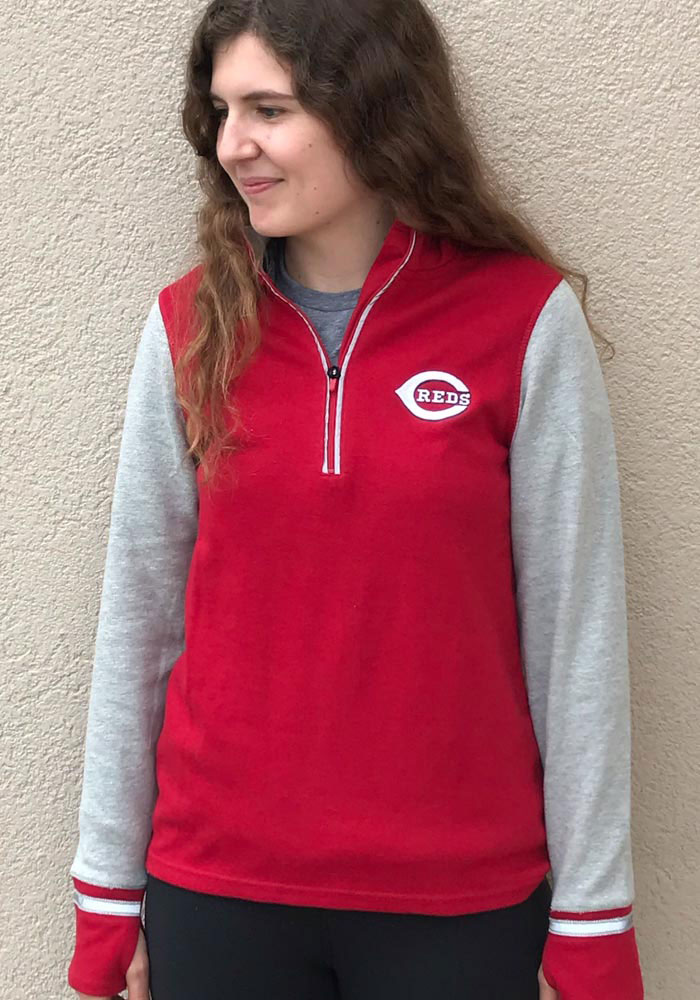Antigua Cincinnati Reds Womens Red Pitch Pullover 1/4 Zip Pullover - Image 2