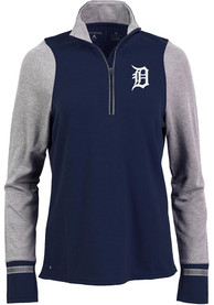 Antigua Detroit Tigers Womens Pitch Pullover Navy Blue 1/4 Zip Pullover