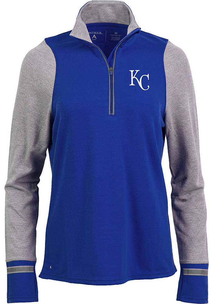 Antigua Kansas City Royals Womens Navy Blue Pitch Pullover 1/4 Zip Pullover - Image 1