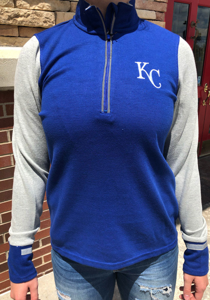 Antigua Kansas City Royals Womens Navy Blue Pitch Pullover 1/4 Zip Pullover - Image 2