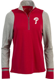 Philadelphia Phillies Womens Antigua Pitch Pullover 1/4 Zip Pullover - Red