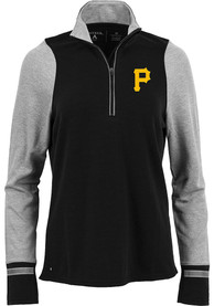 Pittsburgh Pirates Womens Antigua Pitch Pullover 1/4 Zip Pullover - Black