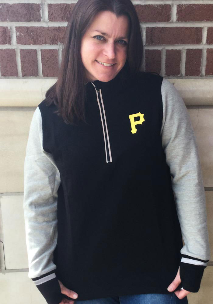 Antigua Pittsburgh Pirates Womens Black Pitch Pullover 1/4 Zip Pullover - Image 2