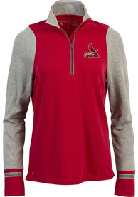 Antigua St Louis Cardinals Womens Pitch Pullover Red 1/4 Zip Pullover