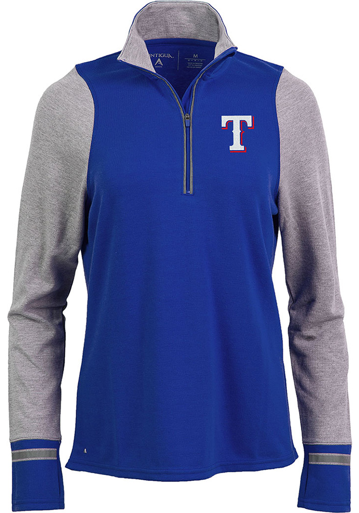Antigua Texas Rangers Womens Navy Blue Pitch Pullover 1/4 Zip Pullover - Image 1