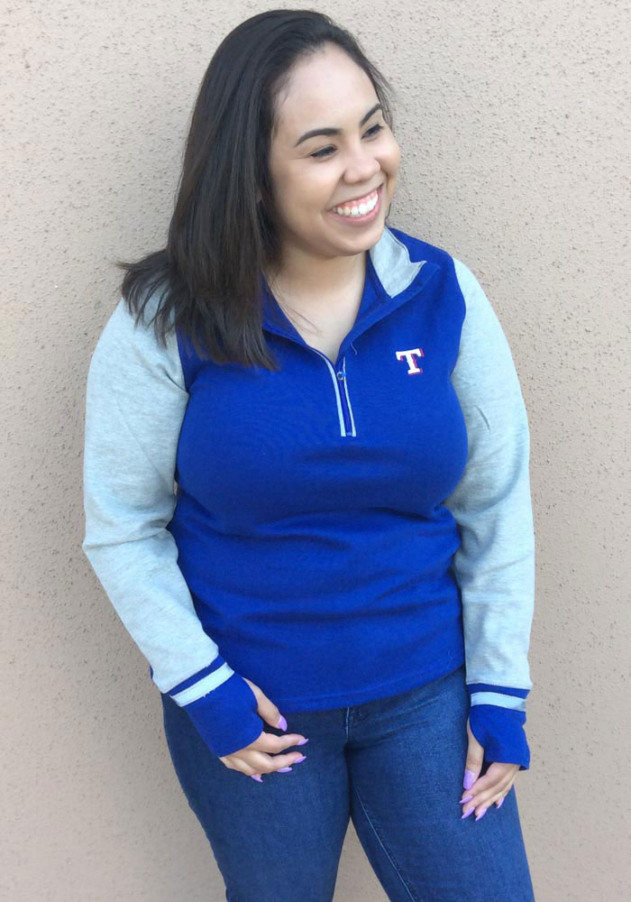Antigua Texas Rangers Womens Navy Blue Pitch Pullover 1/4 Zip Pullover - Image 2