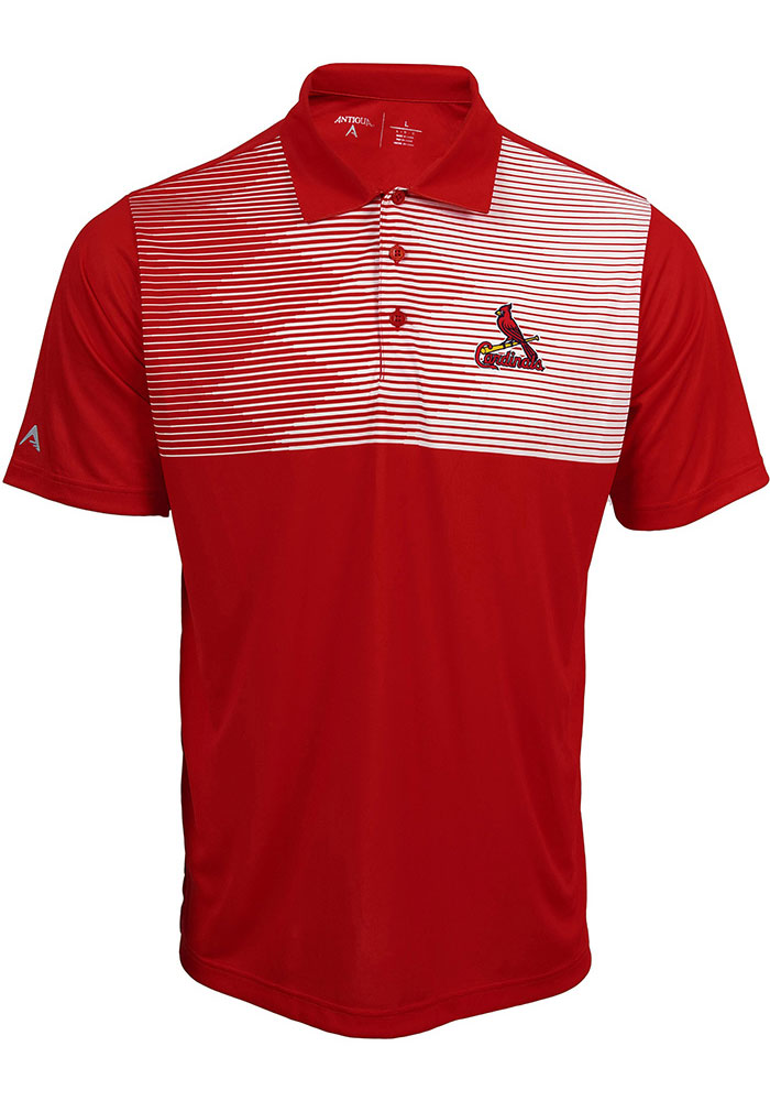 Antigua St Louis Cardinals Mens Red Tactic Short Sleeve Polo - Image 1