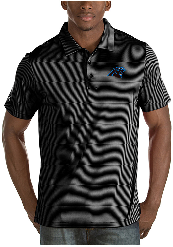 Antigua Carolina Panthers Mens Black Quest Short Sleeve Polo - Image 1