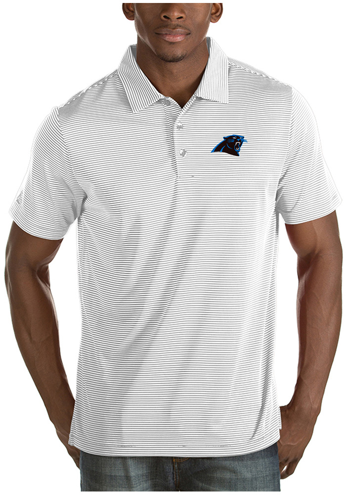 Antigua Carolina Panthers White Quest Short Sleeve Polo Shirt b04956def