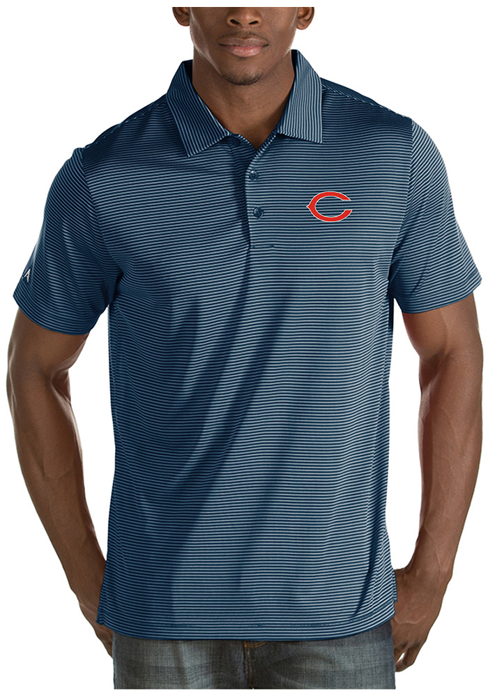 Chicago Bears Mens Navy Blue Quest Short Sleeve Polo - Image 1