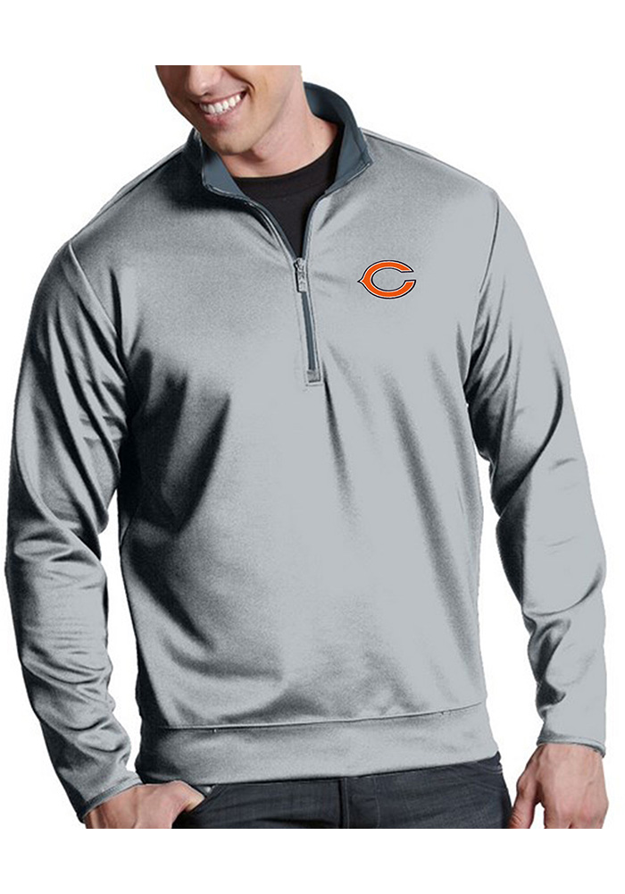 Chicago Bears Mens Silver Leader Long Sleeve 1/4 Zip Pullover - Image 1
