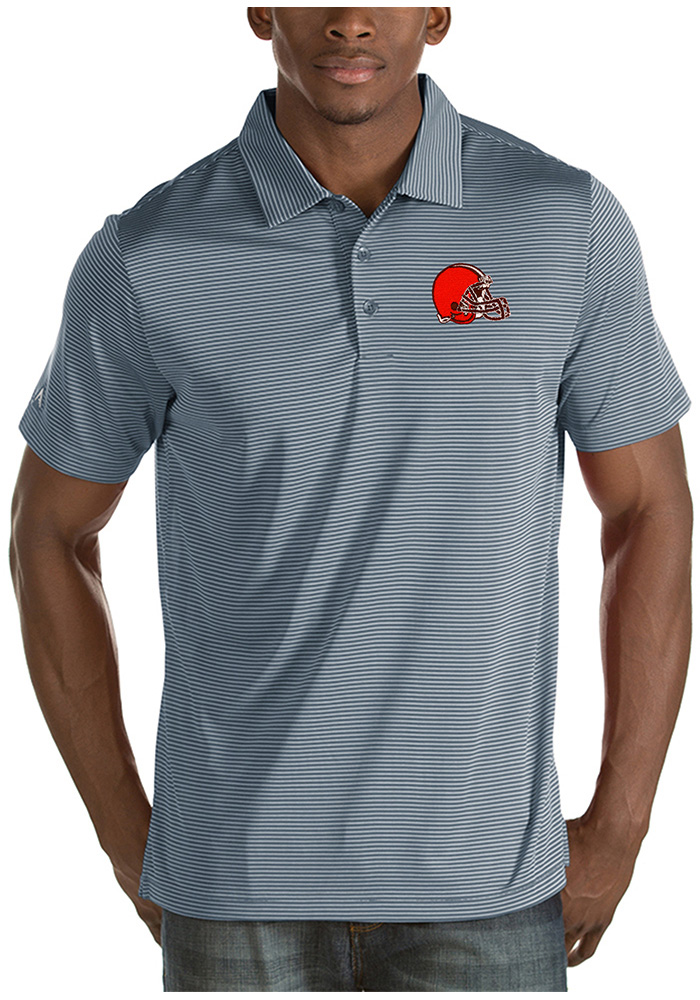 Cleveland Browns Mens Grey Quest Short Sleeve Polo - Image 1