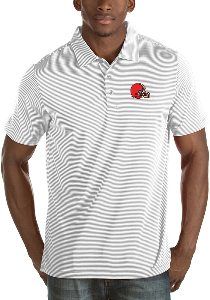 Cleveland Browns Mens White Quest Short Sleeve Polo - Image 1