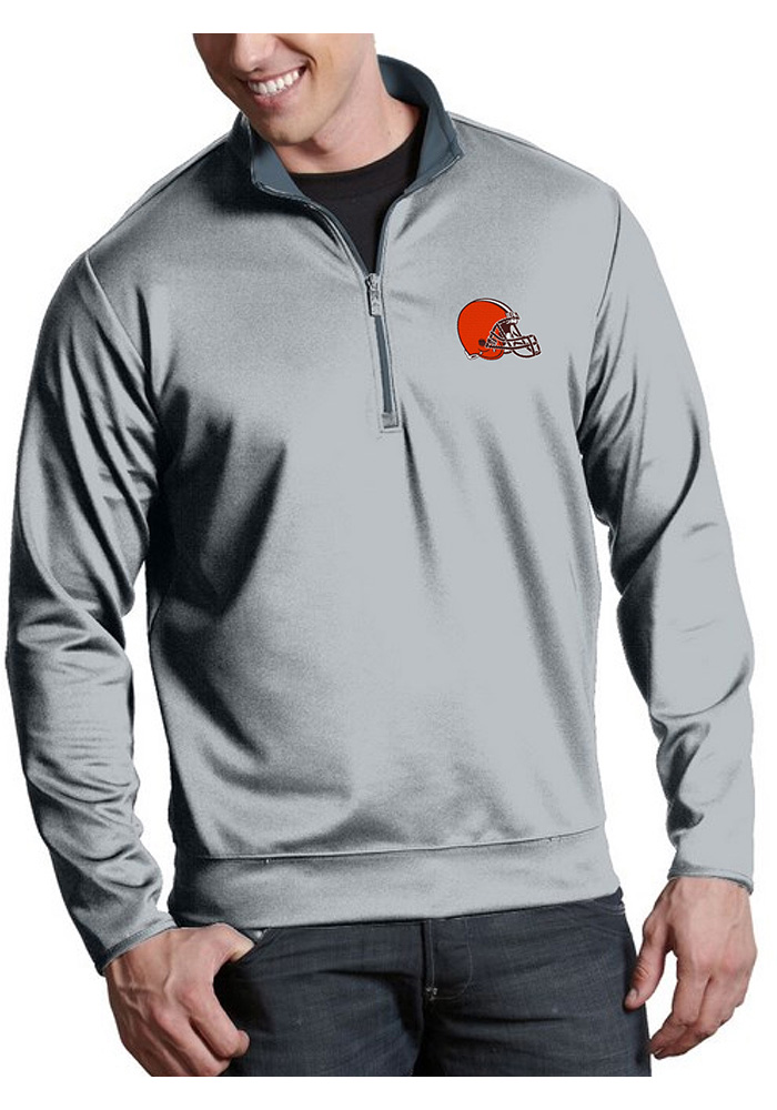 Cleveland Browns Mens Silver Leader Long Sleeve 1/4 Zip Pullover - Image 1