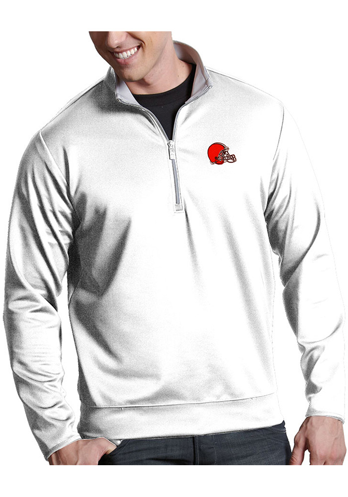 Cleveland Browns Mens White Leader Long Sleeve 1/4 Zip Pullover - Image 1