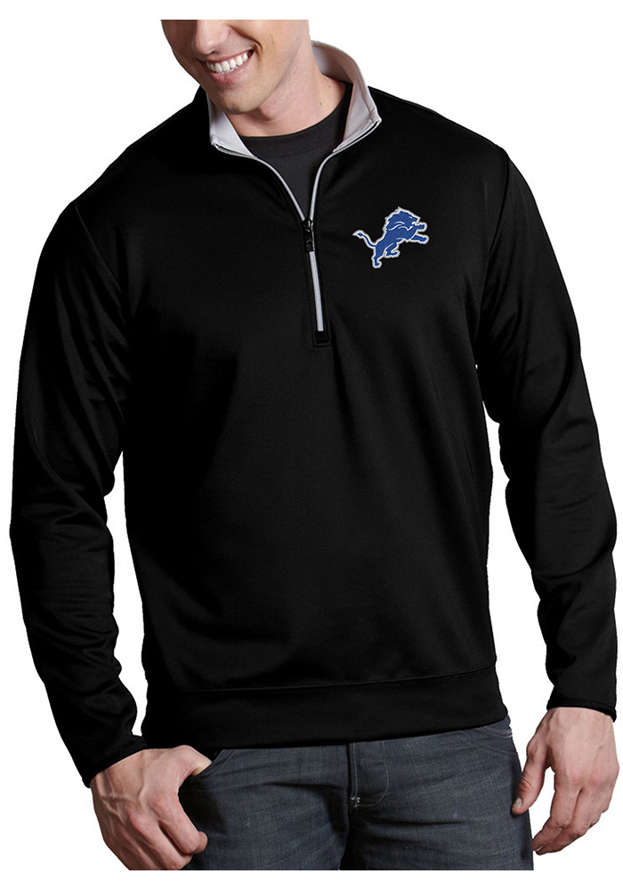 Antigua Detroit Lions Mens Black Leader Long Sleeve 1/4 Zip Pullover - Image 1