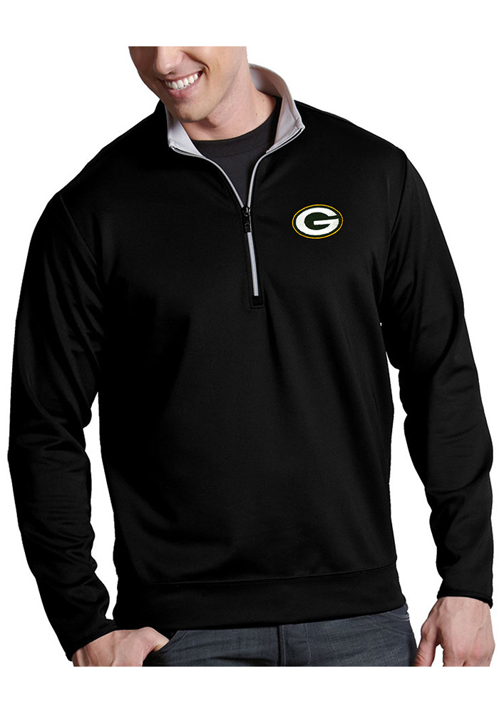 Antigua Green Bay Packers Mens Black Leader Long Sleeve 1/4 Zip Pullover - Image 1
