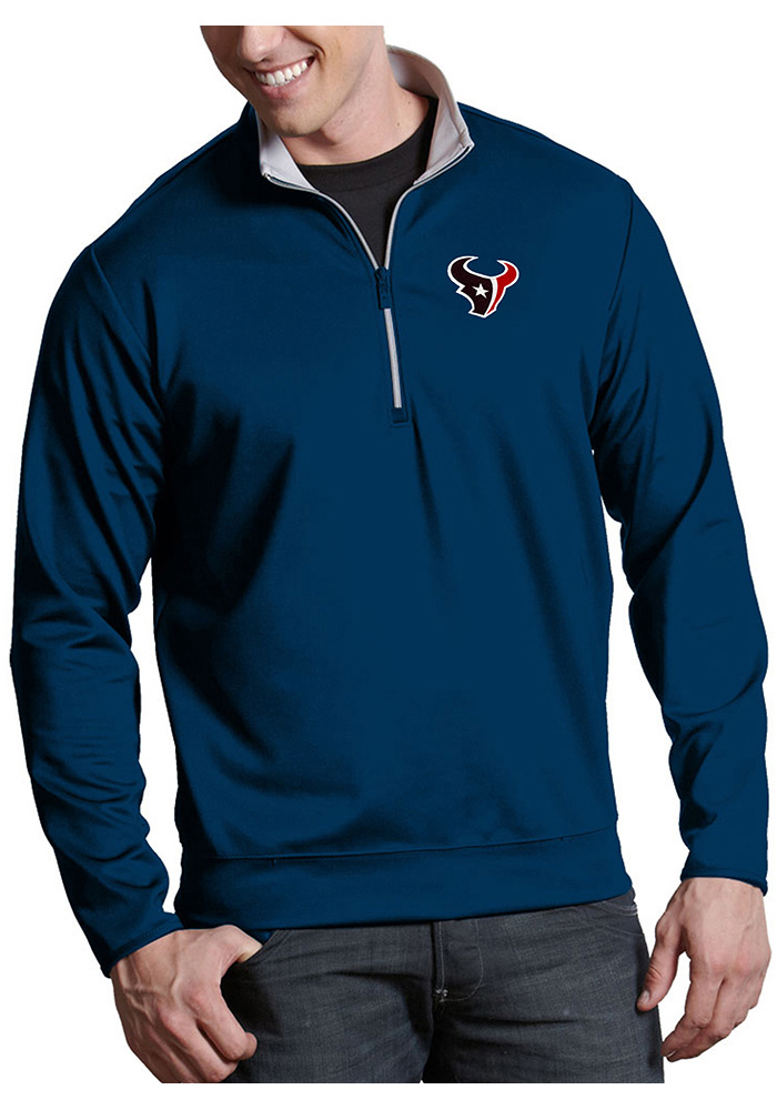 0ea1a370f1f Antigua Houston Texans Mens Navy Blue Leader Long Sleeve 1 4 Zip Pullover -  Image