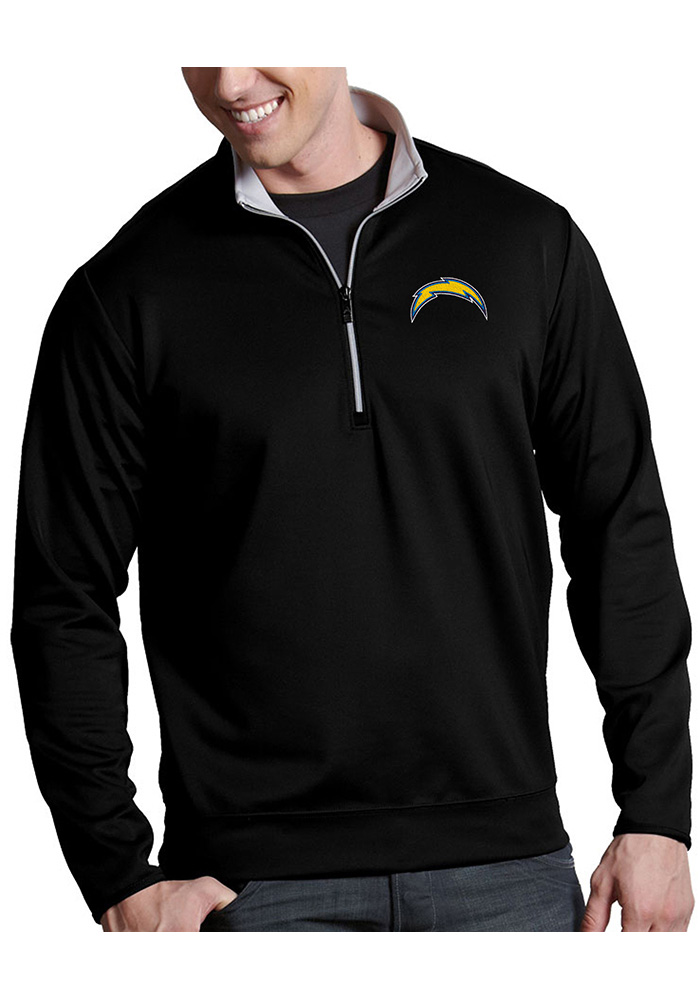 Antigua Los Angeles Chargers Mens Black Leader Long Sleeve 1/4 Zip Pullover - Image 1