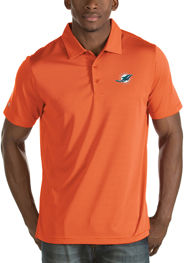 Miami Dolphins Mens Orange Quest Short Sleeve Polo - Image 1