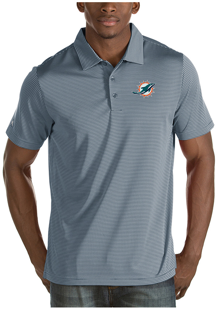 Antigua Miami Dolphins Mens Grey Quest Short Sleeve Polo - Image 1
