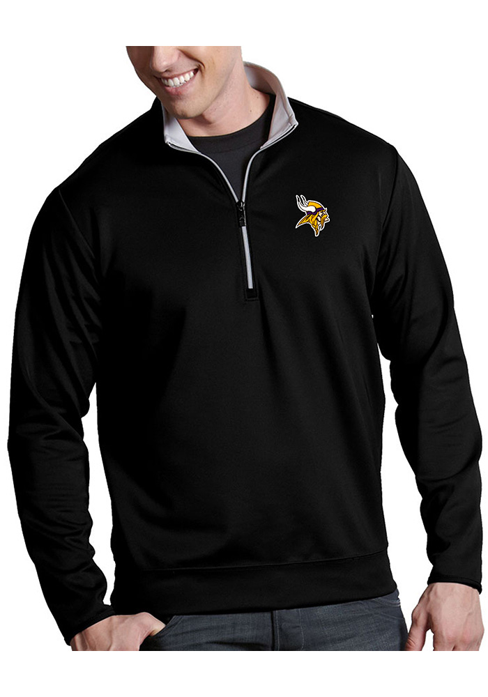 Antigua Minnesota Vikings Mens Black Leader Long Sleeve 1/4 Zip Pullover - Image 1