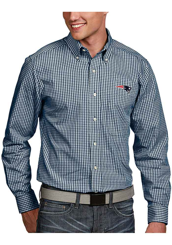 Antigua New England Patriots Mens Blue Associate Long Sleeve Dress Shirt - Image 1