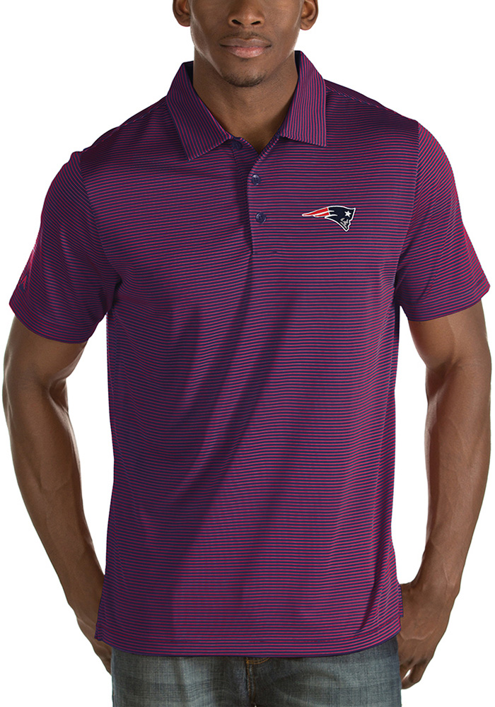 New England Patriots Mens Navy Blue Quest Short Sleeve Polo - Image 1