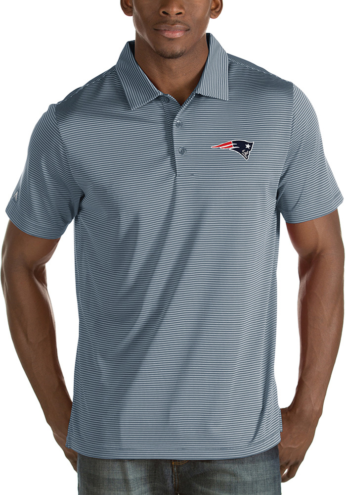 New England Patriots Mens Grey Quest Short Sleeve Polo - Image 1