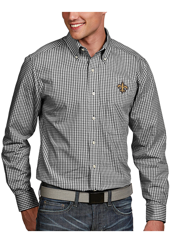 New Orleans Saints Mens Black Associate Long Sleeve Dress Shirt - Image 1