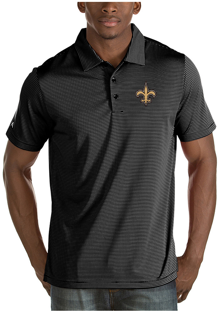 Antigua New Orleans Saints Mens Black Quest Short Sleeve Polo - Image 1