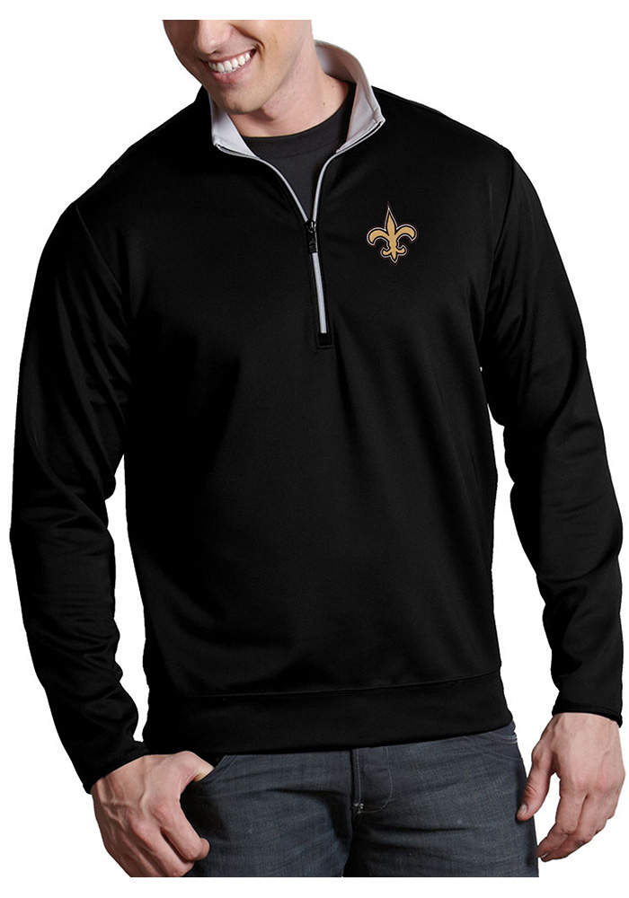 Antigua New Orleans Saints Mens Black Leader Long Sleeve 1/4 Zip Pullover - Image 1