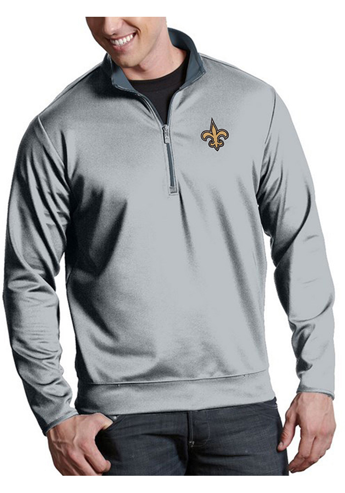 New Orleans Saints Mens Silver Leader Long Sleeve 1/4 Zip Pullover - Image 1