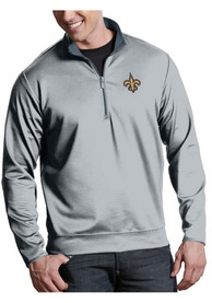 New Orleans Saints Antigua Leader 1/4 Zip Pullover - Silver
