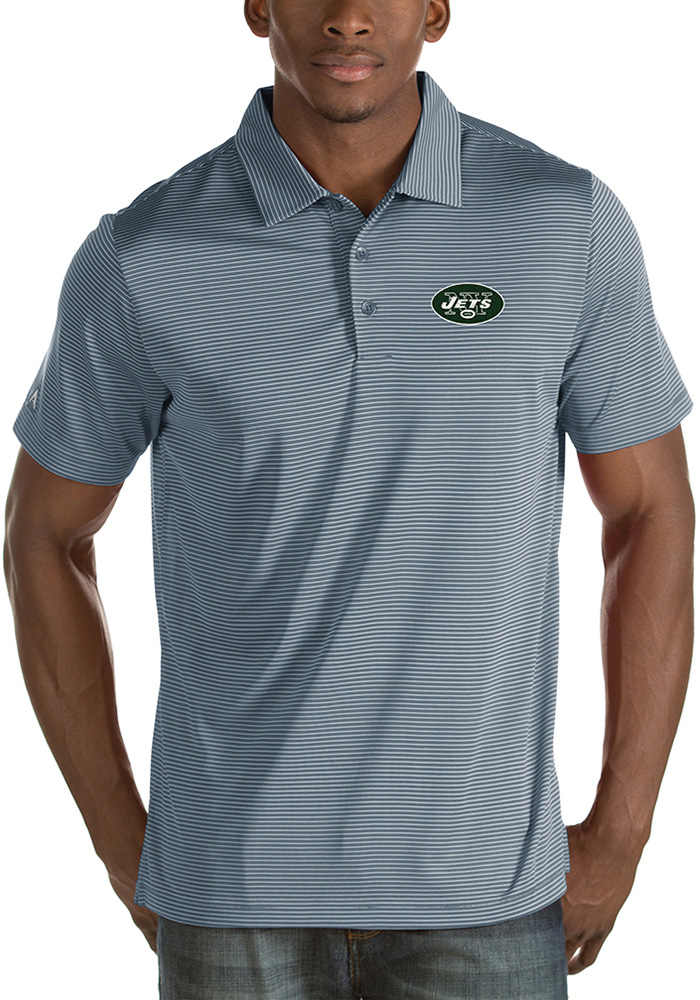 Antigua New York Jets Mens Grey Quest Short Sleeve Polo - Image 1