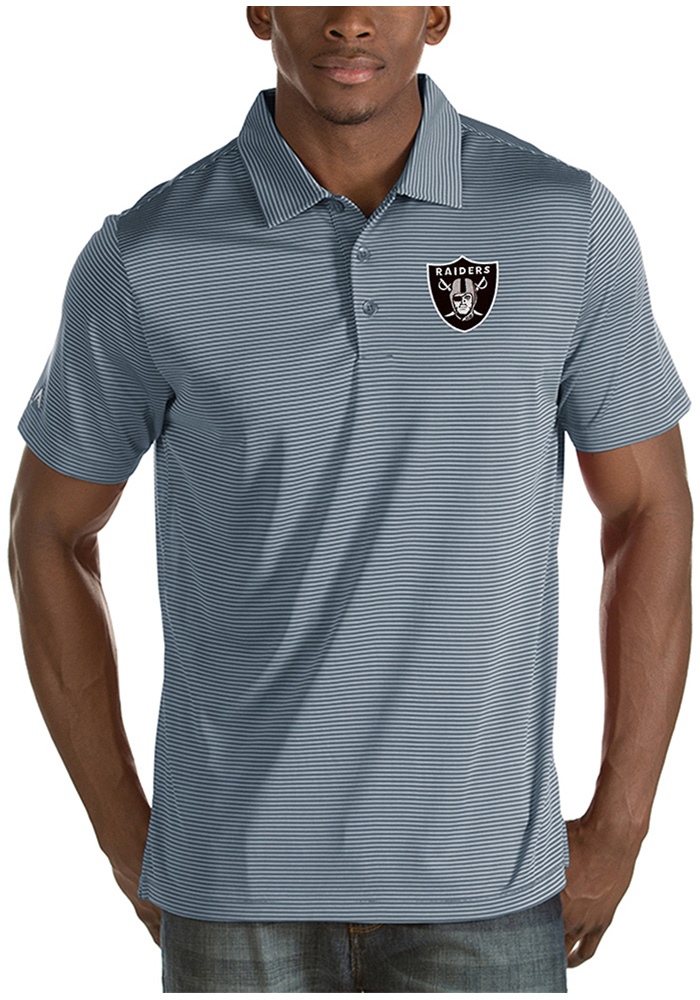 Oakland Raiders Mens Grey Quest Short Sleeve Polo - Image 1