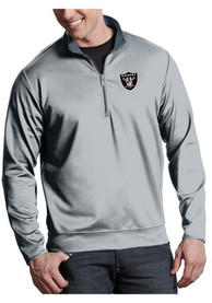 Las Vegas Raiders Antigua Leader 1/4 Zip Pullover - Silver