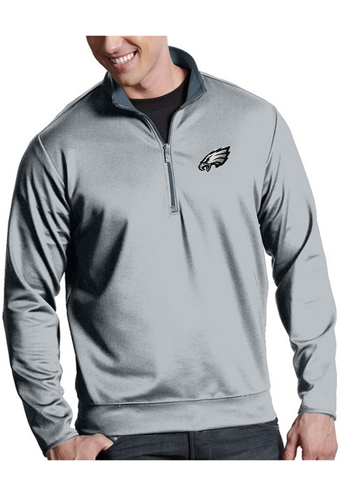 Antigua Philadelphia Eagles Mens Silver Leader Long Sleeve 1/4 Zip Pullover - Image 1