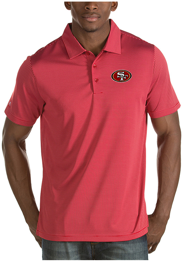 Antigua San Francisco 49ers Mens Red Quest Short Sleeve Polo - Image 1