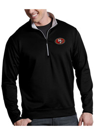 San Francisco 49ers Antigua Leader 1/4 Zip Pullover - Black