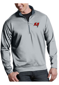 Tampa Bay Buccaneers Antigua Leader 1/4 Zip Pullover - Silver
