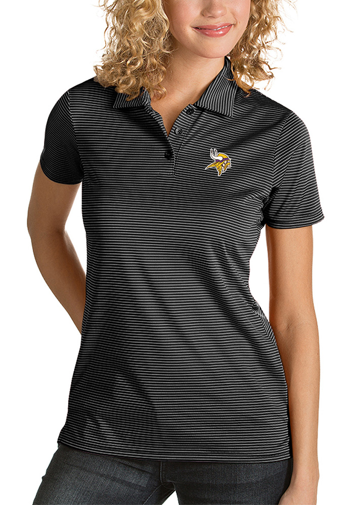 Antigua Minnesota Vikings Womens Black Quest Short Sleeve Polo Shirt - Image 1