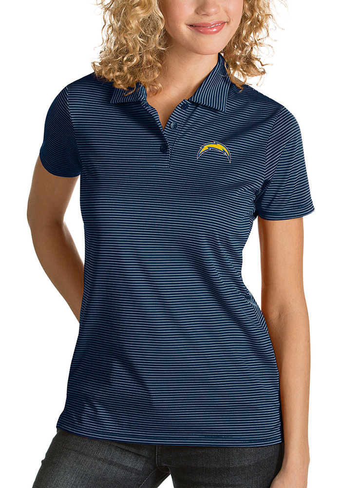 Antigua Los Angeles Chargers Womens Navy Blue Quest Short Sleeve Polo Shirt - Image 1