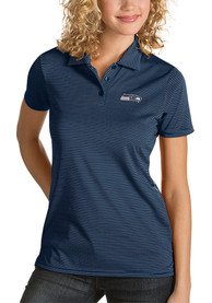 Seattle Seahawks Womens Antigua Quest Polo Shirt - Navy Blue