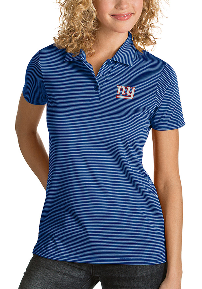 New York Giants Womens Blue Quest Short Sleeve Polo Shirt - Image 1